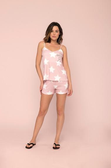 Pijama Short Doll Pó De Estrela Rosa Lua Luá
