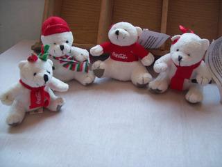 Lote De 4 Osos Polares De Peluche De Coca-cola