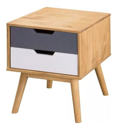 Mesa De Luz Nórdica Madera Colores - Rustico Muebles-