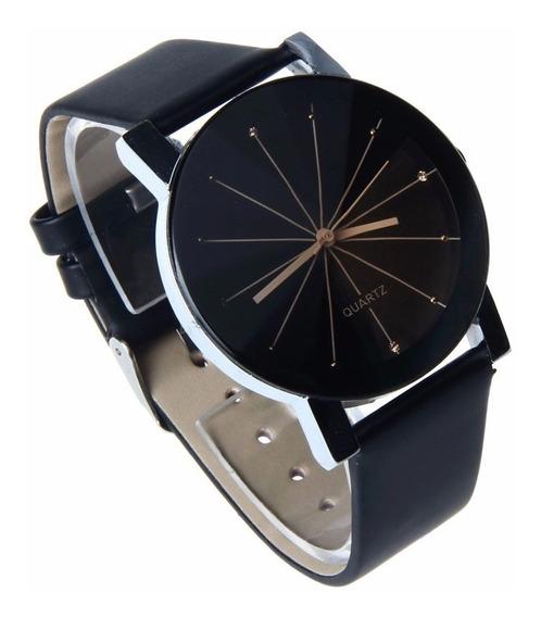 Relógio Masculino De Luxo Pulseira Em Couro Pu Preto Quartzo
