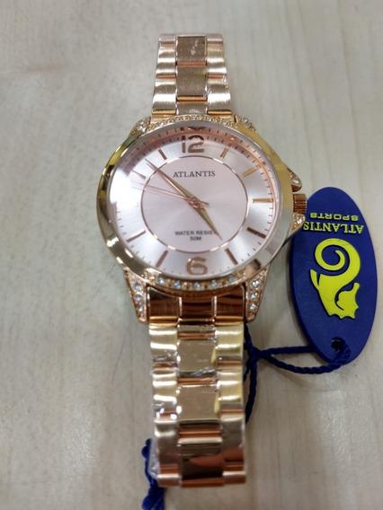 Relógio Original Atlantis Dourado Rose Fem Modelo Fret Gr