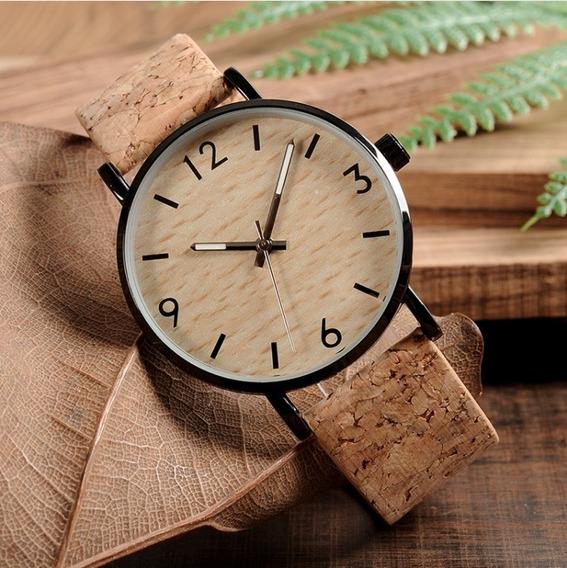 Relógio Feminino Aço Inoxidável Clássico Madeira Original !!