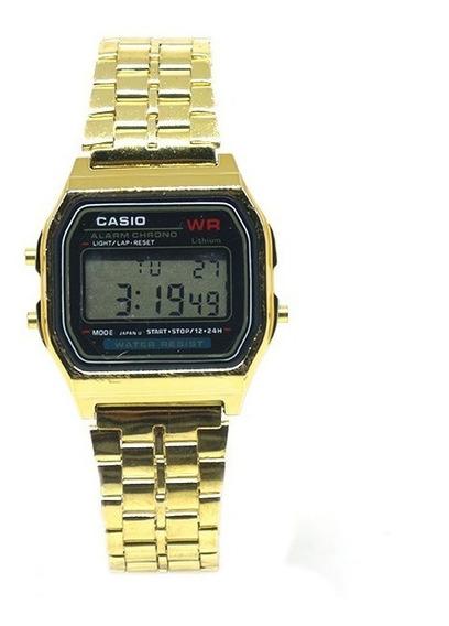 Relógio Digital Dourado Pulseira De Aço Inox Importado