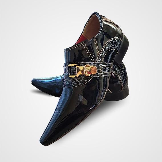 Sapato Social Couro Preto Verniz Style Collection