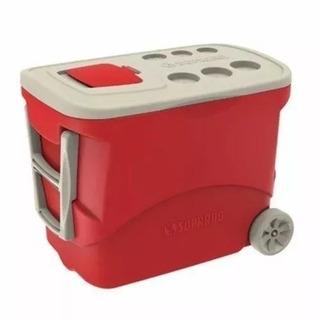 Caixa Térmica Tropical Com Rodas 50 Litros Soprano Vermelha