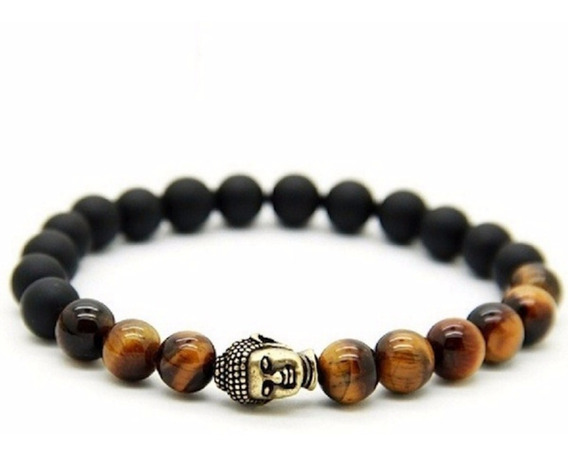 Pulseira Masculina Bracelete Buda Pedras Olho De Tigre 8mm
