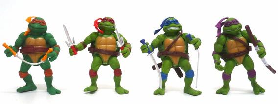 4 Bonecos Tartarugas Ninjas Verde 12cm Cartelados