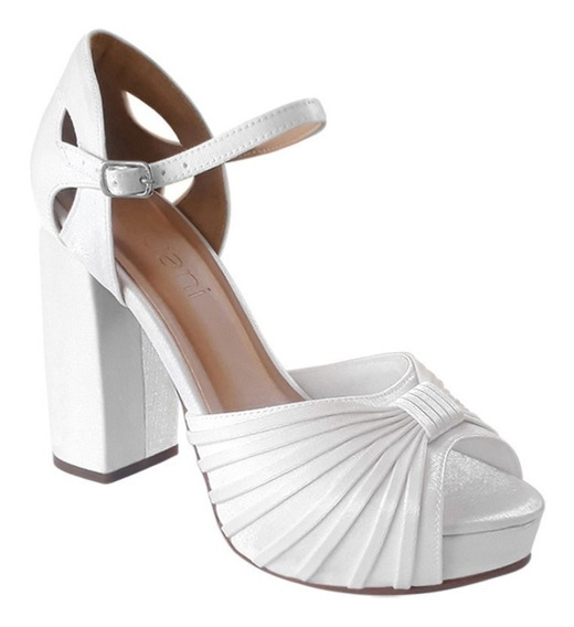 Sapato Sandalia Noiva Meia Pata Salto Alto Grosso Branco
