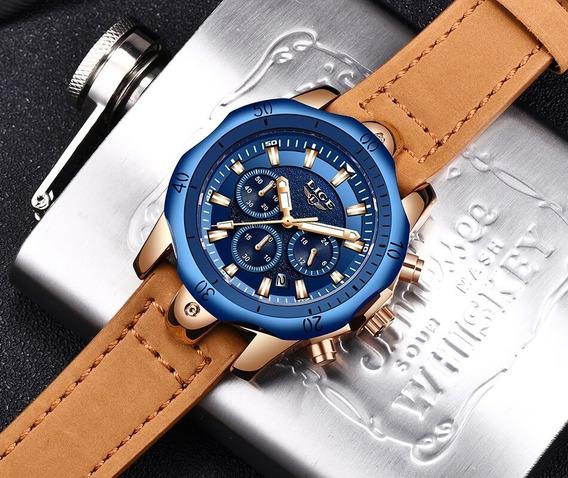 Relógio Lige Azul E Dourado Original 9862
