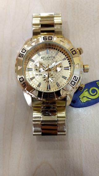 Relógio Atlantis Dourado Masculino Caixa Nota Frete Grátis