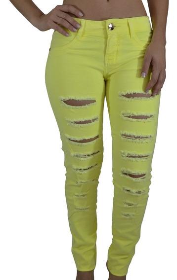Calça Slim Jeans Alma De Praia Destroyed Amarela