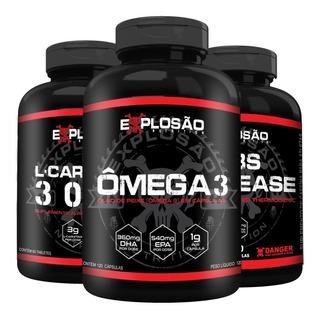Kit Emagrecedor Omega3 + Termogênico + L- Carnitina Explosão