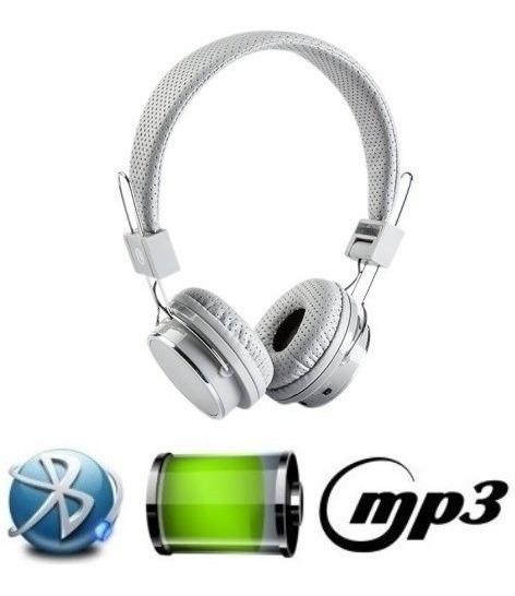 Fone De Ouvido Bluetooth Micro Sd Mp3 Rádio Fm Player Branco