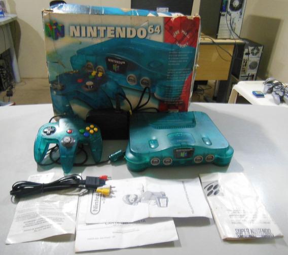 Nintendo 64 Anis Completo C/ Caixa Manual Sabores Azul N64