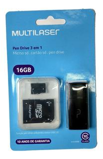 Cartão De Memória Micro Sd 16gb Multilaser Cl 10 Pendrive Nf