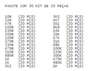 Resistor Metal 1/4w 1% Pacote Com 30 Kit De 20 Pçs (600pçs)