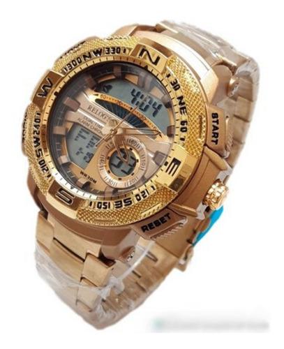 Relógio Masculino Moderno Grande E Estiloso Luxo Dourado