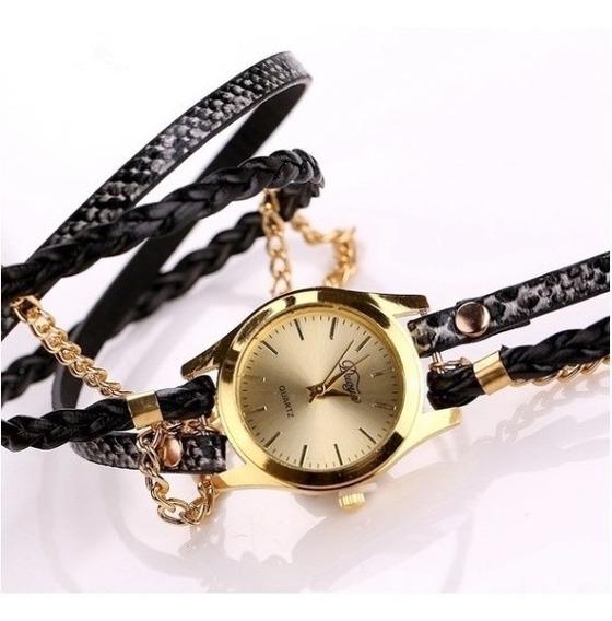 Relógio E Pulseira Dourado E Preto
