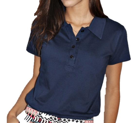 Camisa Polo Feminina Lisa Malha 100% Algodão Fio 30.1