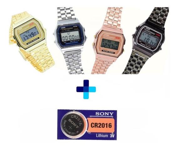 Lote 10 Reloj A168 Logo Metal 6 Colores Baterias De Regalo