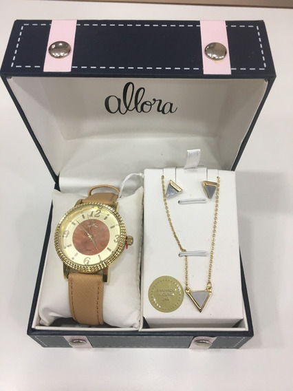 Relógio De Pulso Allora Kit Biju Pulseira De Couro Feminino