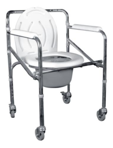 Silla Baño Discapacitado - Comodo Plegable Cromado Ruedas
