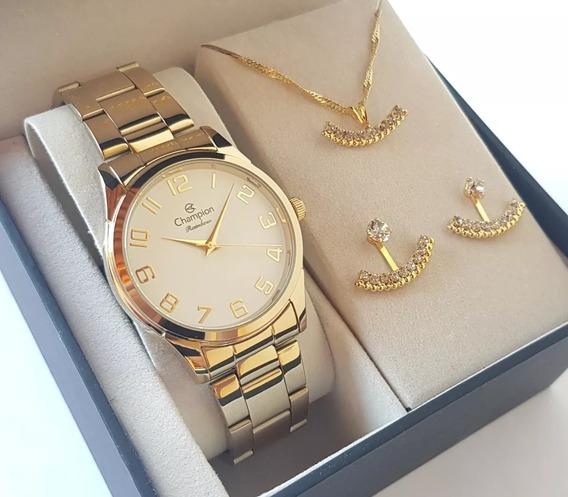 Relógio Champion Feminino Dourado Cn29883j Kit Colar Brincos