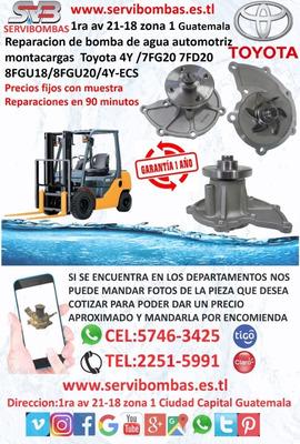 Bomba De Agua Automotriz Montacargas Toyota 4y, 2.2 7f,8f Tg