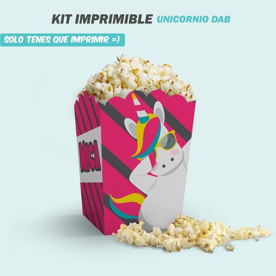 Kit Imprimible Unicornio Arcoiris Dab Candy Invitación