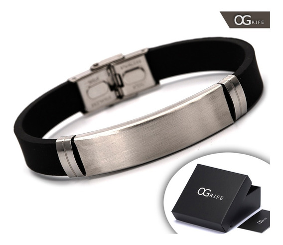 Pulseira Bracelete Masculino Ogrife J-125 Silicone Aço Inox