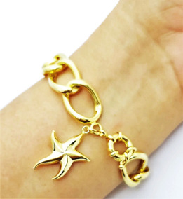 Pulseira Elos Grumet Com Estrela Do Mar Banho Ouro 18k 1757a