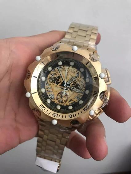 Relógio Ghj5478 Invicta 16855 Hybrid Esqueleton Dourado Com Fundo Preto Com Garantia Com Caixa E Manual
