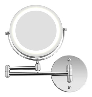 Espejo Con Luz Led Aumento 5x Baño De Pared Maquillaje Cromo