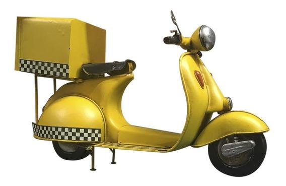 Moto Motor Amarillo Antiguo Añejo Taxi Coleccion Miniatura