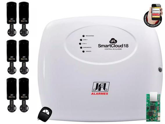 Kit Alarme C/ Modulo Jfl Smart Cloud 18 + 6 Sensor Ira-115