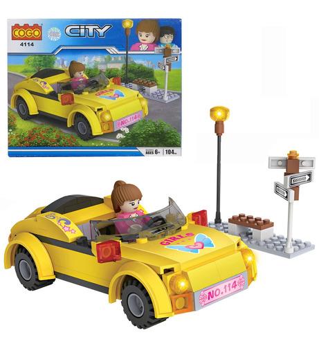Bloques Para Armar Auto Con Nena Cogo 4114 City 104 Pz