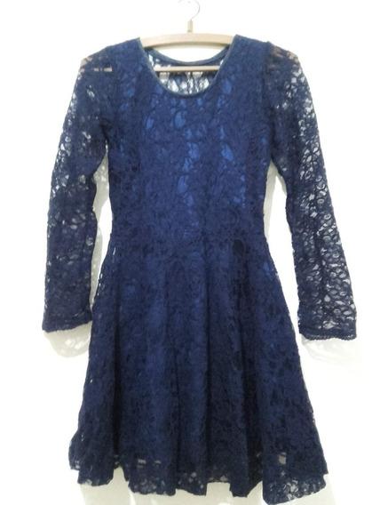 Vestido De Encaje Y Raso Color Azul Marino Manga Larga