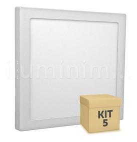 Kit 5 Painel Plafon Led 25w Quadrado Sobrepor Branco Frio