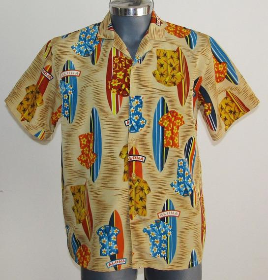 City Impact Camisa Hawaiiana Estampado Tablas Surf Talla M