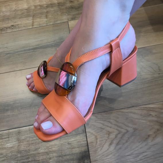 Sandália Salto Bloco Com Enfeite Confort Luxo Santa Liz