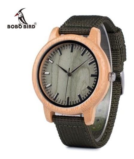 Relógio Unissex Bambu Madeira D11 Bobo Bird Pulseira Nylon