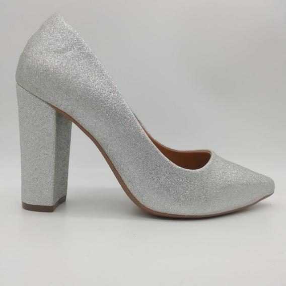 Mozione Sapato Scarpin Bico Fino Brilhoso Festa Noiva