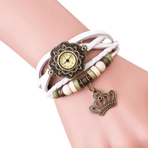 Relógio Feminino Pulseira Couro Bracelete Barato Promoção