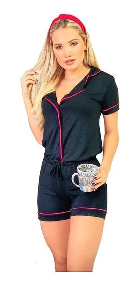 Conjunto Pijama Blogueira Camisa E Short