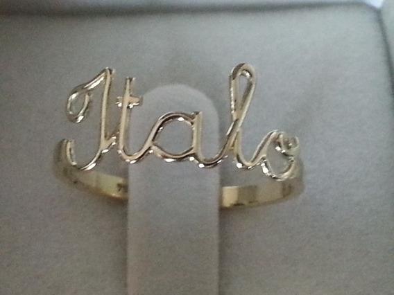 Anel Personalizado Nome Em Ouro18k Italo