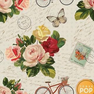 Papel De Parede Floral Borboletas Cartão Postal Adesivo 10m