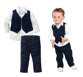 Conjunto Infantil Camisa Social Colete Calça Menino Casament