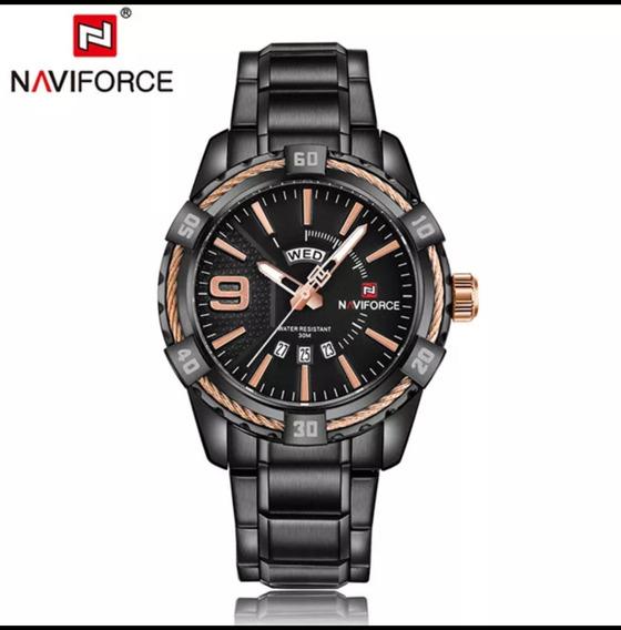 Relógio Naviforce Aço Black À Prova D