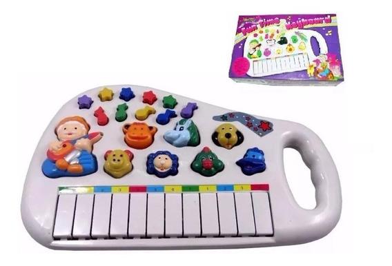 Piano Teclado Musical Bichos Infantil Sons Eletronicos