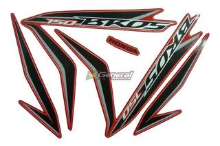Kit Adesivo Faixas Moto Honda Bros 150 2013 Es Esd Vermelha